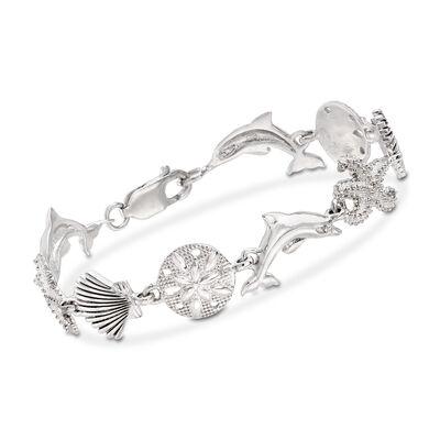 Sterling Silver Sea Life Link Bracelet, , default