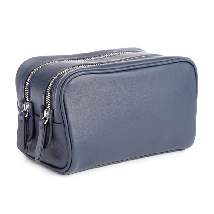 Royce Blue Leather Double-Zip Toiletry Bag, , default