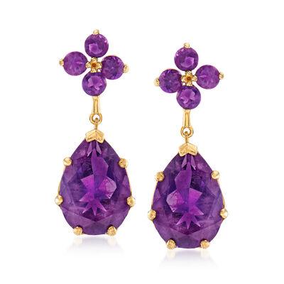 8.30 ct. t.w. Amethyst Drop Earrings in 14kt Yellow Gold, , default