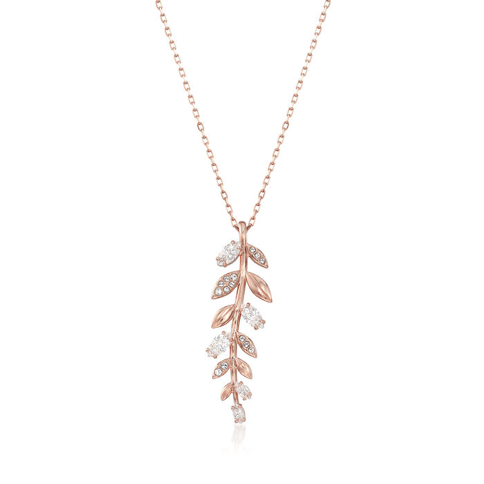 "Swarovski Crystal ""Mayfly"" Fern Necklace in Rose Gold-Plated Metal"