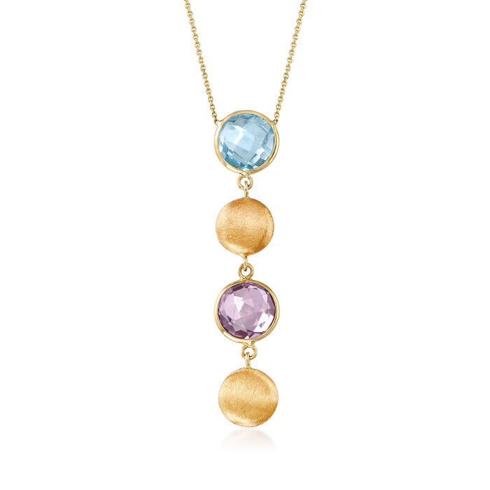 """3.20 ct. t.w. Amethyst and 2.00 Carat Sky Blue Topaz Y-Necklace in 14kt Yellow Gold. 18"""""""