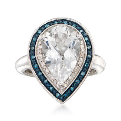 4.80 Carat White Topaz and .20 ct. t.w. Blue and White Diamond Pear-Shaped Ring in Sterling Silver