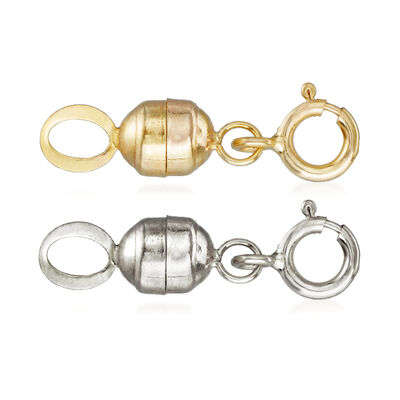 Italian Set of Two Small Magnetic Clasp Converters: 14kt Yellow Gold and 14kt White Gold, , default