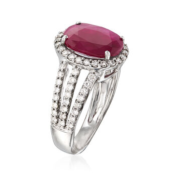 3.50 Carat Ruby and .84 ct. t.w. Diamond Triple-Shank Ring in 18kt White Gold