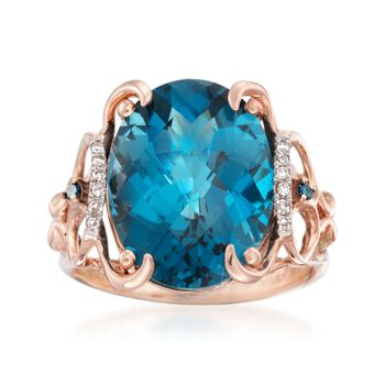 10.00 Carat London Blue Topaz Ring With Blue and White Diamond Accents in 14kt Rose Gold, , default