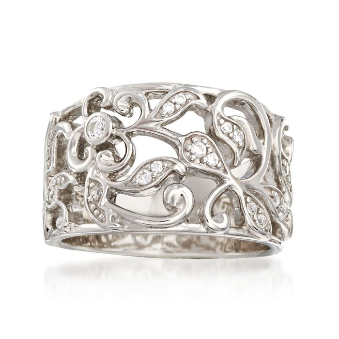 "Belle Etoile ""Empress"" .20 ct. t.w. CZ Ring in Sterling Silver"