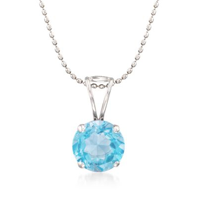 2.00 Carat Blue Topaz Solitiare Necklace in 14kt White Gold