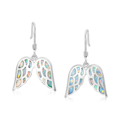 Synthetic Opal Angel Wing Drop Earrings in Sterling Silver