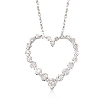 """.50 ct. t.w. Diamond Heart Pendant Necklace in 14kt White Gold. 18"""", , default"""