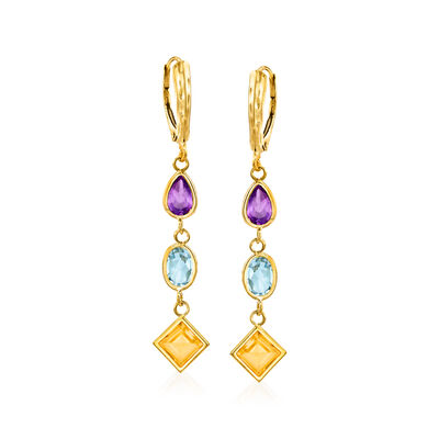 6.30 ct. t.w. Multi-Stone Drop Earrings in 14kt Yellow Gold, , default