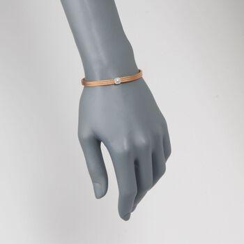 """ALOR """"Classique"""" Diamond Station Rose Cable Bracelet with 18kt White Gold. 7"""", , default"""