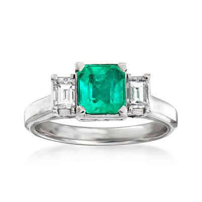C. 1990 Vintage .74 Carat Emerald and .37 ct. t.w. Diamond Ring in Platinum