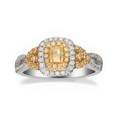.72 ct. t.w. Yellow and White Diamond Ring in 14kt Two-Tone Gold