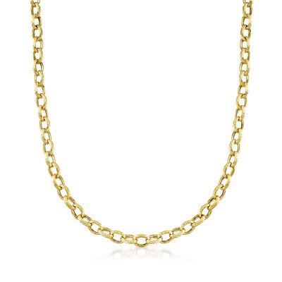C. 1990 Vintage 18kt Yellow Gold Cable-Link Chain Necklace, , default