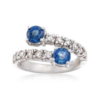 1.20 ct. t.w. Sapphire and .54 ct. t.w. Diamond Bypass Ring in 14kt White Gold, , default