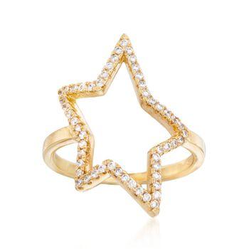 .30 ct. t.w. CZ Star Outline Ring in 14kt Gold Over Sterling, , default