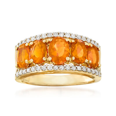 Fire Opal and .44 ct. t.w. Diamond Ring in 14kt Yellow Gold, , default