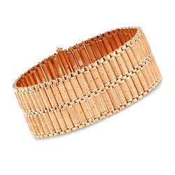 "C. 1970 Vintage 18kt Rose Gold Textured and Polished Wide Bracelet. 7"", , default"