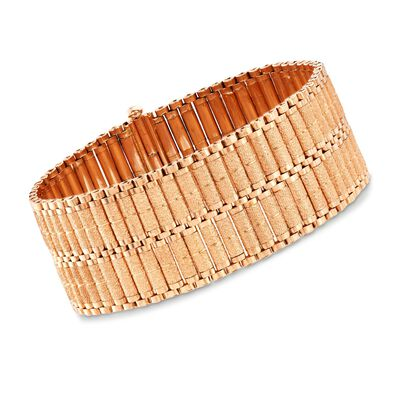 C. 1970 Vintage 18kt Rose Gold Textured and Polished Wide Bracelet, , default