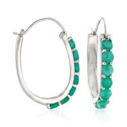"3.20 ct. t.w. Opaque Emerald Hoop Earrings in Sterling Silver. 1 1/8"", , default"