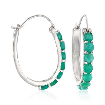 3.20 ct. t.w. Opaque Emerald Hoop Earrings in Sterling Silver, , default