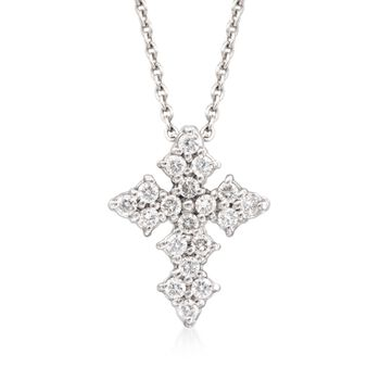 """Roberto Coin .16 ct. t.w. Diamond Cross Necklace in 18kt White Gold. 16"""", , default"""