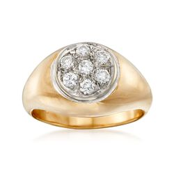 C. 1970 Vintage .50 ct. t.w. Diamond Cluster Ring in 14kt Yellow Gold. Size 8, , default