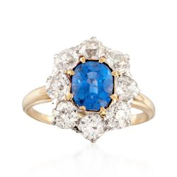 C. 1900 Vintage 1.70 Carat Sapphire and 1.75 ct. t.w. Diamond Ring in 14kt Two-Tone Gold, , default
