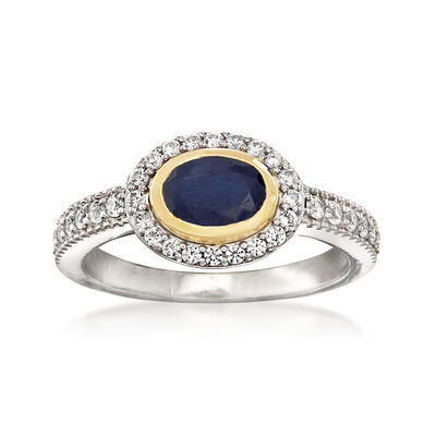 1.00 Carat Sapphire and .50 ct. t.w. White Zircon Ring in Sterling Silver with 14kt Yellow Gold