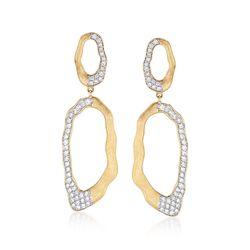 1.50 ct. t.w. Diamond Free-Form Open Oval Drop Earrings in 14kt Yellow Gold , , default