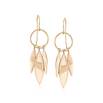 14kt Yellow Gold Marquise Drop Earrings, , default