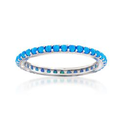 Blue Synthetic Opal Eternity Band in Sterling Silver, , default