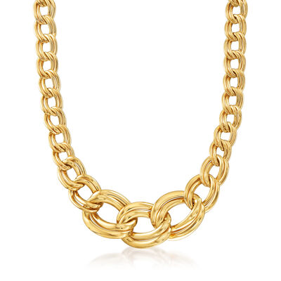 Italian 14kt Yellow Gold Large Graduated Link Necklace, , default