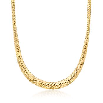 "Italian 14kt Yellow Gold Graduated Curb-Link Necklace. 18"", , default"