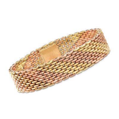 C. 1970 Vintage 14kt Two-Tone Gold Link Bracelet, , default