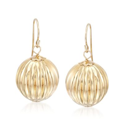 Italian Andiamo 14kt Yellow Gold Fluted Ball Drop Earrings, , default