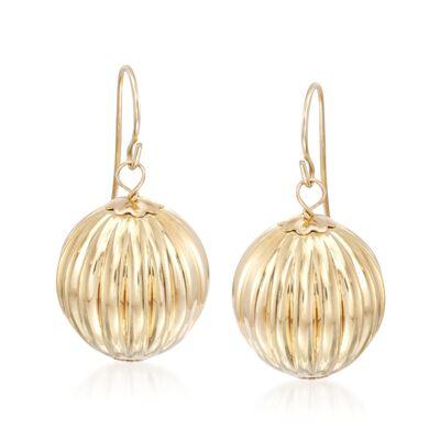 Italian Andiamo 14kt Yellow Gold Fluted Ball Drop Earrings, , default