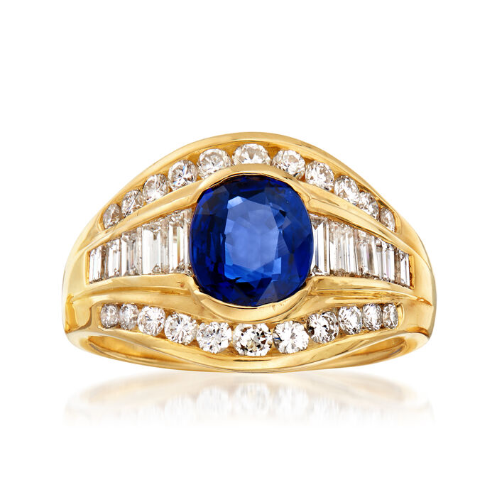 C. 1980 Vintage 1.62 Carat Sapphire and .90 ct. t.w. Diamond Ring in 18kt Yellow Gold