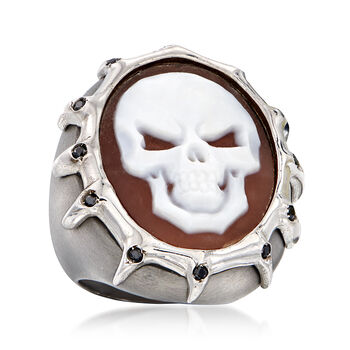 Italian .10 ct. t.w. Black CZ Skull Cameo Ring in Sterling Silver, , default