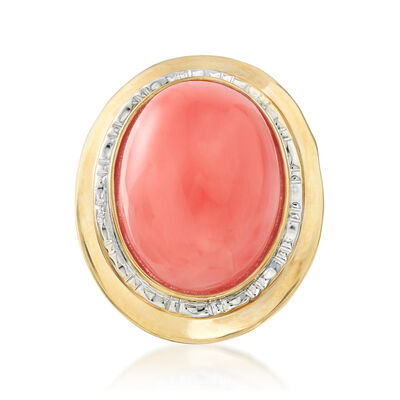C. 1980 Vintage Coral Ring in 14kt Yellow Gold, , default