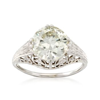 C. 1990 Vintage 3.00 Carat Engraved Diamond Solitaire Ring in 18kt White Gold. Size 6.75, , default
