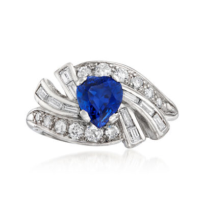 C. 1970 Vintage 1.18 Carat Sapphire and .75 ct. t.w. Diamond Swirl Heart Ring in Platinum, , default