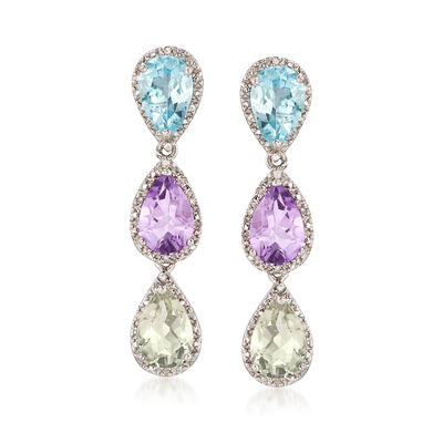 8.30 ct. t.w. Multi-Gemstone and .10 ct. t.w. Diamond Drop Earrings in Sterling Silver , , default