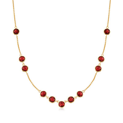 11.00 ct. t.w. Garnet Station Necklace in 18kt Gold Over Sterling, , default