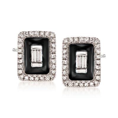 .20 ct. t.w. Diamond Earrings with Black Enamel in 18kt White Gold