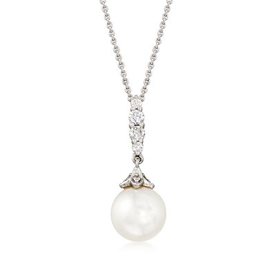 Gabriel Designs Cultured Pearl and .17 ct. t.w. Diamond Pendant Necklace in 14kt White Gold, , default