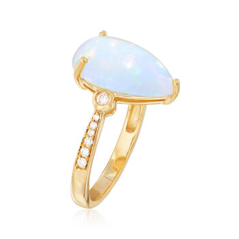 Opal and .14 ct. t.w. Diamond Ring in 14kt Yellow Gold, , default