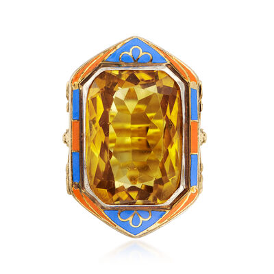 C. 1935 Vintage 12.00 Carat Citrine Ring with Blue and Orange Enamel in 14kt Yellow Gold, , default