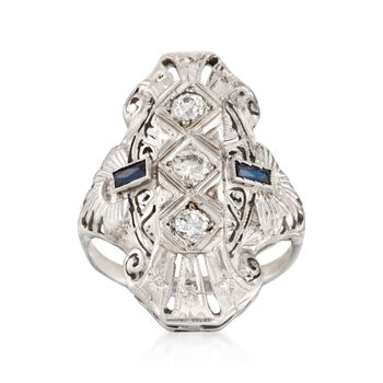 C. 1950 Vintage Faux Sapphire and .30 ct. t.w. Diamond Dinner Ring in 14kt White Gold. Size 6, , default