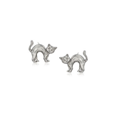 Sterling Silver Cat Earrings, , default
